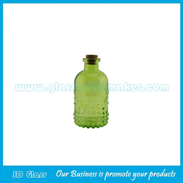250ml Empty Emboss Glass Fragrance Bottle With Wood Cork