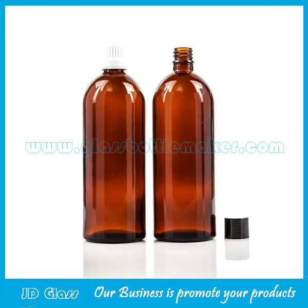 200ml Amber Round Essential Oil Glass Bottles With Caps