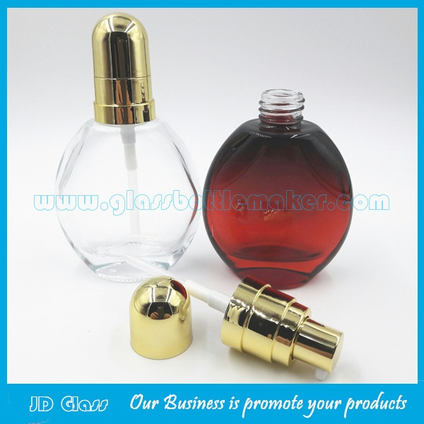 New Design 30ml Colored Round Glass Essence Bottle With Gold Lotion Pump and Gold Cap