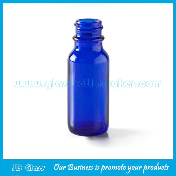 Cobalt Blue Boston Round Glass Bottles With Droppers and Caps