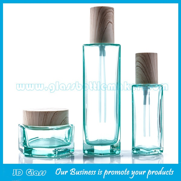 2017 New Model 120ml,100ml,40ml Colored Glass Lotion Bottles and 50g,30g Glass Cosmetic Jars
