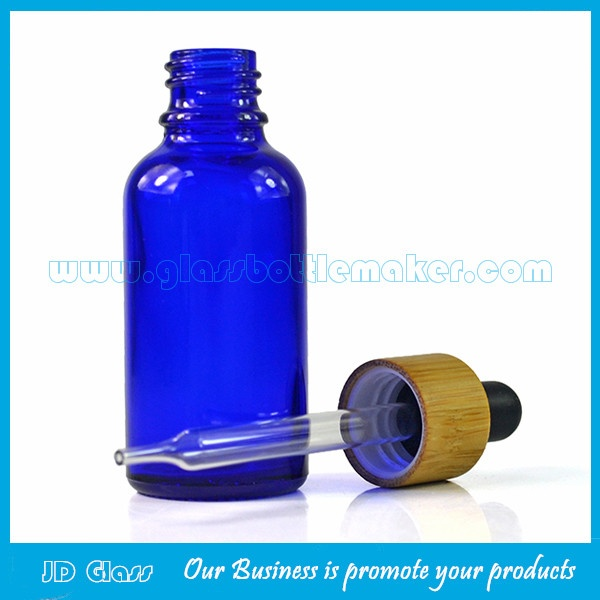30ml Blue Round Essential Oil Glass Bottles With Bamboo Droppers