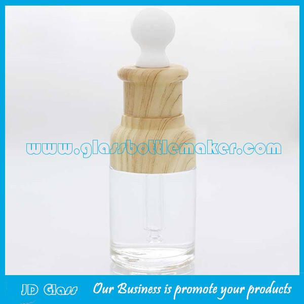 20ml,30ml.50ml Clear Essence Glass Bottles With Wood Droppers