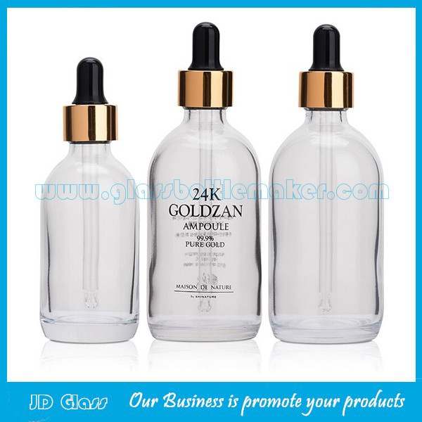 60ml,100ml 24K Gold New Item Glass Essence Bottle With Dropper
