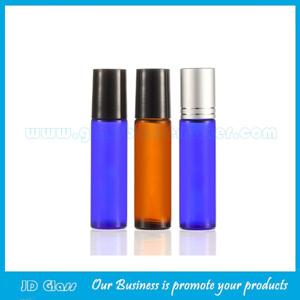 10ml Amber and Blue Perfume Roll On Bottle With Silver or Black Cap and Roller