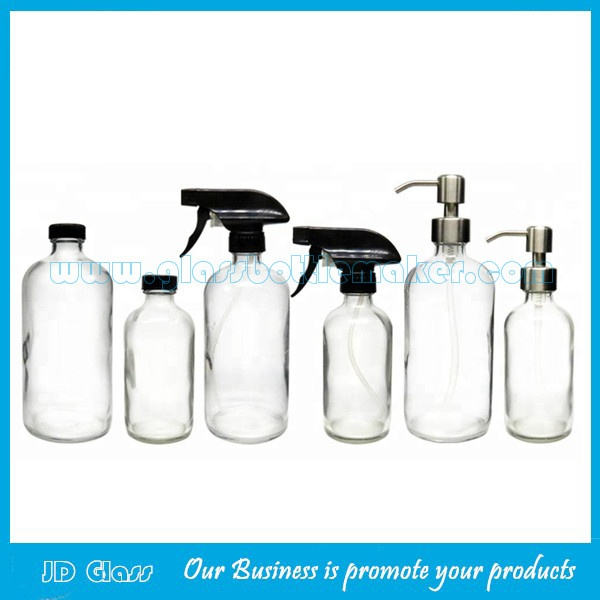 8oz and 16oz Clear Boston Round Glass Bottles With Caps or Trigger Sprayers or Pumps