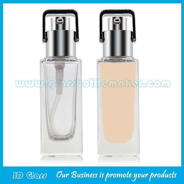 New Item 30ml Square Frost Glass Bottles For Liquid Foundation