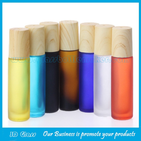10ml Colored Frost Perfume Roll On Bottles With Wood Caps and Rollers