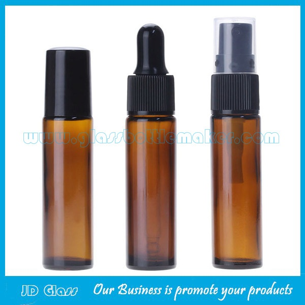 10ml Amber Round Perfume Roll On Bottles With Caps and Rollers, Droppers and Pumps