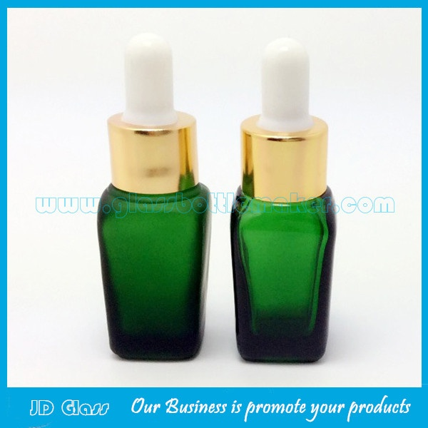 Green Square Essential Oil Glass Bottles With Droppers