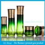40ml,100ml,120ml Green Painting Glass Lotion Bottles and 30g,50g Glass Cosmetic Jars
