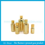 Metallic Gold Round Essential Oil Glass Bottles With Gold Caps