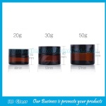 20g,30g,50g Amber Glass Cosmetic Jar With Black Lid