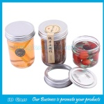 4oz and 8oz Empty Clear Round Glass Jam Jar With Silver Aluminum Lid
