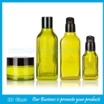 40ml,140ml.175ml Olive Green Glass Lotion Bottles and 30g,50g Glass Cosmetic Jars