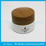 50g Colored Round Glass Cosmetic Jar With Wood Lid