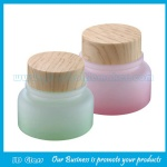 50g Pink And Green New Item Glass Cosmetic Jars With Wood Lid