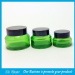 15g,30g,50g Green Painting Sloping Shoulder Glass Cosmetic Jars With Black Lids