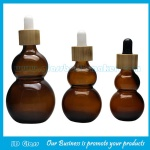 Amber Double Calabash Essential Oil Bottles With Bamboo Droppers
