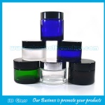Clear frost Blue and Green Round Glass Cosmetic Jars With Lids
