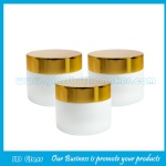 15g,20g,30g,50g,100g Opal White Round Glass Cosmetic Jars With Gold Lids