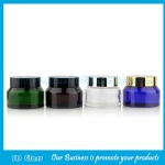 15g,30g,50g Clear,Amber,Green,Blue Sloping Shoulder Glass Cosmetic Jars With Lids