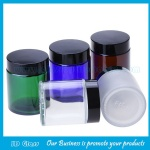 100g Clear,Amber,Blue Round Glass Cosmetic Jars With Lids