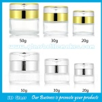 20g,30g,50g Clear Round Glass Cosmetic Jars With Double Lids