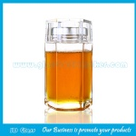 New Item High Quality Hexagonal Glass Honey Jar With Double Lid