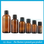 5ml-100ml Amber Round Essential Oil Glass Bottles With Black Caps