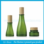 New Item 40ml, 120ml Green Glass Lotion Bottles With Wood Cap and 50g Glass Cream Jar