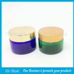 30g Blue and Green Round Glass Cosmetic Jar With Silver Lid
