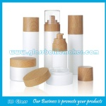 New Items Cylinder Glass Lotion Bottles For Skincare and Glass Cream Jars With Wood Cap